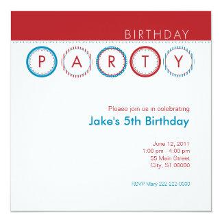 """Círculos del fiesta - rojo y azul invitación 5.25"""" x 5.25"""""""
