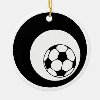 círculos del fútbol adorno redondo de cerámica