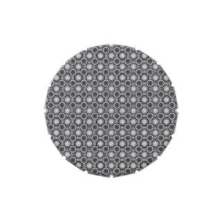 Círculos del negro, grises y blancos de la ilusión latas de dulces