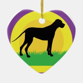Círculos del perro adorno de cerámica en forma de corazón