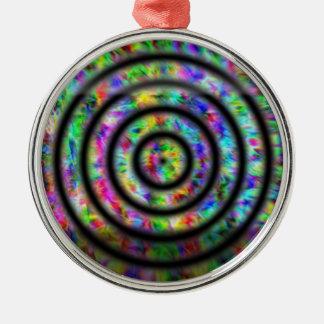 Círculos del teñido anudado adorno navideño redondo de metal