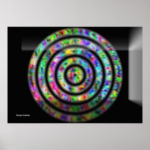 Círculos del teñido anudado póster