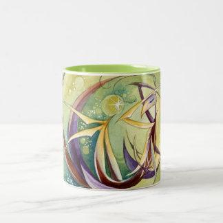 Círculos dentro de círculos taza de café de dos colores