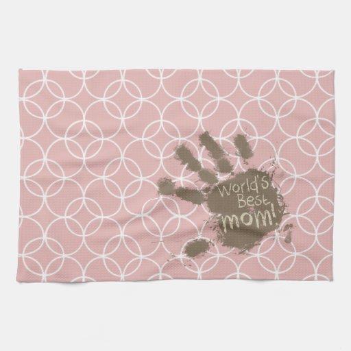 Círculos divertidos del color de malva de la mamá toallas