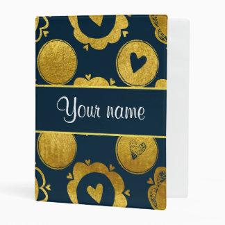 Círculos elegantes del oro de los corazones de la mini carpeta