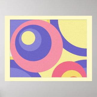 Círculos en colores pastel de la pintura de Digita Póster