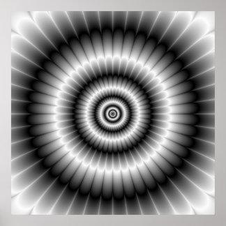 Círculos en poster blanco y negro