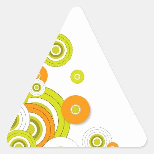 Círculos enrrollados en blanco calcomanía de triangulo