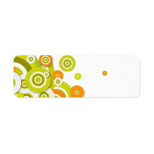 Círculos enrrollados verde y productos modificados etiquetas de remite