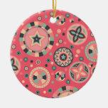Círculos estrellados rosados del vintage ornamentos de navidad
