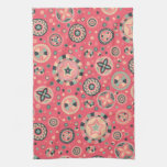 Círculos estrellados rosados del vintage toalla