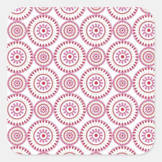 Círculos femeninos rosados pegatina cuadrada