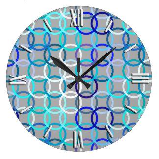 Círculos, gris, azul y blanco modernos de los reloj redondo grande