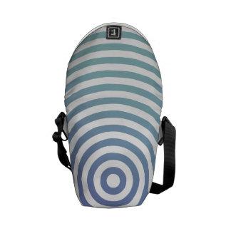 Círculos hipnóticos azules bolsa de mensajeria