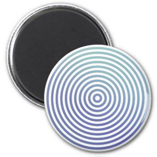Círculos hipnóticos azules imán redondo 5 cm