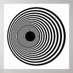 Círculos horizontales 01 blancos y negros del arte posters