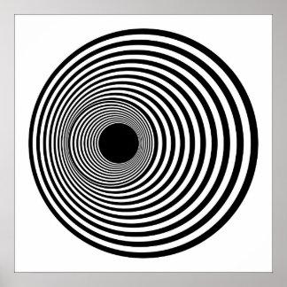 Círculos horizontales 01 blancos y negros del arte póster