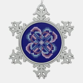 Círculos locos azules y púrpuras adorno de peltre en forma de copo de nieve