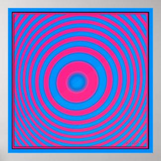 Círculos magentas azules concéntricos póster