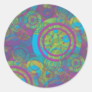 Círculos maravillosos etiqueta redonda