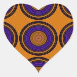 Círculos marrones y púrpuras contemporáneos pegatina en forma de corazón