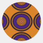 Círculos marrones y púrpuras contemporáneos pegatina redonda