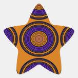 Círculos marrones y púrpuras contemporáneos pegatina en forma de estrella
