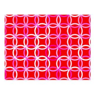 Círculos modernos de los mediados de siglo, rojo tarjetas postales