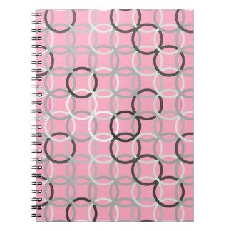 Círculos modernos de los mediados de siglo, rosado notebook