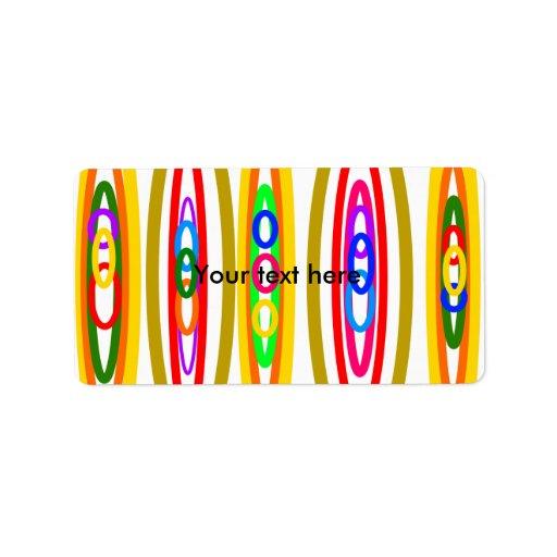 Círculos multicolores retros etiquetas de dirección