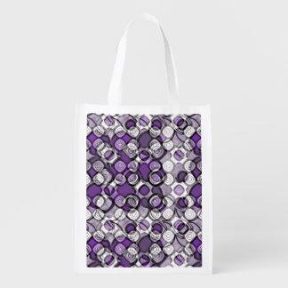 Círculos negros abstractos de la púrpura, grises y bolsa para la compra