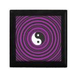 Círculos negros púrpuras del símbolo de Yin Yang Joyero Cuadrado Pequeño