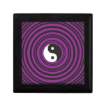 Círculos negros púrpuras del símbolo de Yin Yang T Cajas De Recuerdo