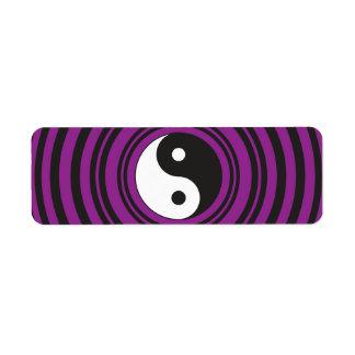 Círculos negros púrpuras del símbolo de Yin Yang T Etiqueta De Remitente