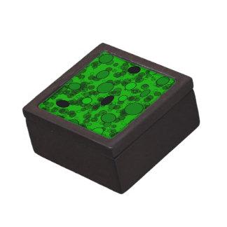 círculos negros verdes caja de joyas de calidad