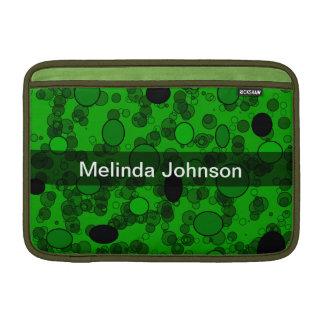 Círculos negros verdes personalizados de los punto funda macbook air