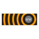 Círculos negros y amarillos del monograma moderno tarjetas de negocios