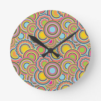 Círculos psicodélicos reloj redondo mediano