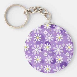 Círculos púrpuras de la guinga de las margaritas llaveros personalizados
