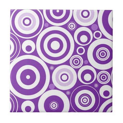 Círculos púrpuras retros enrrollados azulejo cuadrado pequeño