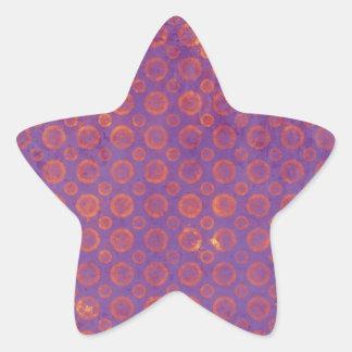 Círculos púrpuras y anaranjados del Grunge Pegatina Forma De Estrella Personalizada