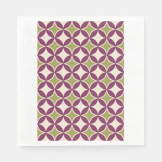 Círculos púrpuras y verdes servilleta desechable
