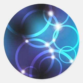 Círculos que brillan intensamente pegatina redonda