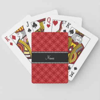 Círculos que entrelazan rojos conocidos personaliz barajas de cartas