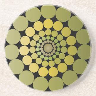 Círculos radiales verdes posavaso para bebida