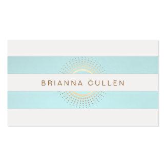 Círculos rayados elegantes de la turquesa y del tarjetas de visita