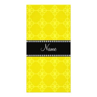 Círculos retros amarillos conocidos personalizados tarjeta con foto personalizada