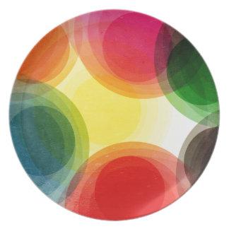 Círculos retros coloridos plato