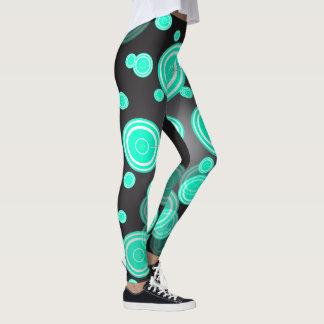 Círculos retros de la turquesa leggings