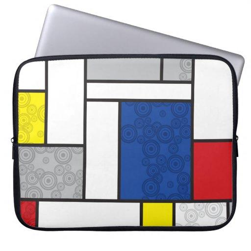 Círculos retros de Stijl del arte minimalista de M Funda Ordendadores